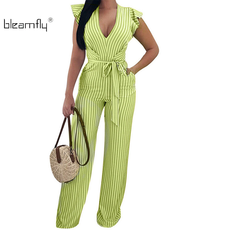 2018 Summer Sexy V Neck Striped Jumpsuit Women Straight Pants Backless Ruffle Overalls Ladies Boho Wide Leg Rompers Playsuit