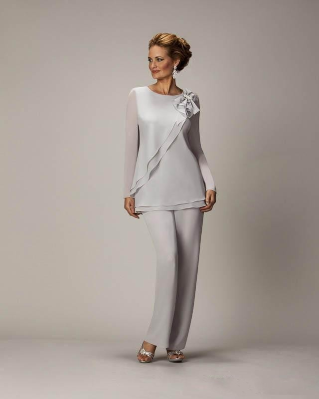 Aliexpress Two Pieces Mother Of The Bride Pants Suits For Weddings Chiffon S Groom Pant Suit Long Sleeve Mothers Formal Wear From