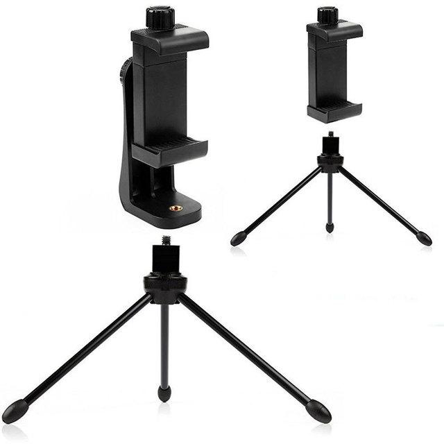360 Degree Rotation Tripod Mount Holder Cell Phone Stand Bracket Clip Mount Bracket Adapter for Mobile Phones Smartphone