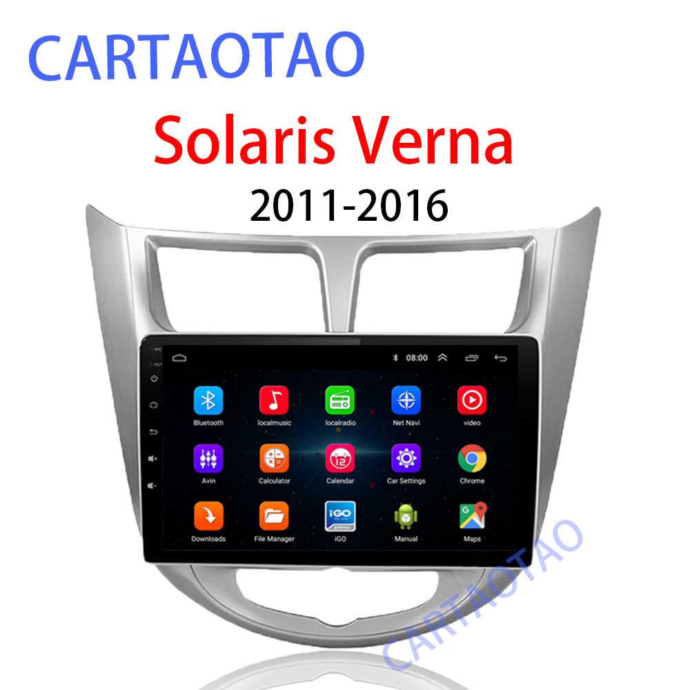 9''2 ディンアンドロイド 8.1 カー DVD プレーヤー現代の Solaris アクセント verna 2011-2016 ラジオレコーダー Gps WIFI usb DAB + オーディオ