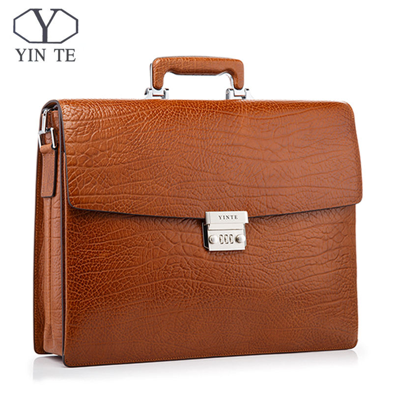 YINTE Luxury Men Briefcase Leather Men Bag Business Lawyer Case High Quality 15inch Laptop Messenger Portfolio Tote T8010-3