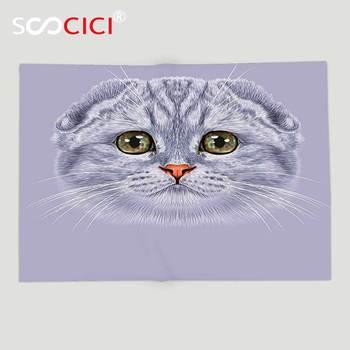 Custom Soft Fleece Throw Blanket Cats Decor Animal Theme Portrait of Cute Kitten with Green Eyes Illustration Print Purplegrey