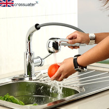 Британский Crosswater меди горячей кухонный кран 360 град. вращения может быть растянут два выпускных