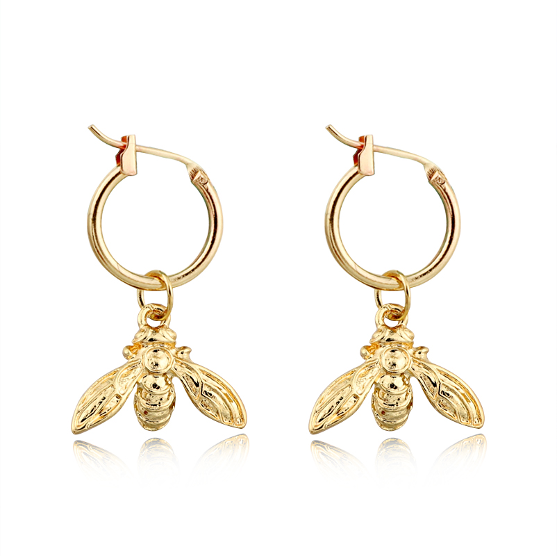 1 Pair European Fashion Personality Cute Small Bee Insect Hoop Earrings Metal Gold Color Mini Animal Bee For Women Jewelry E135