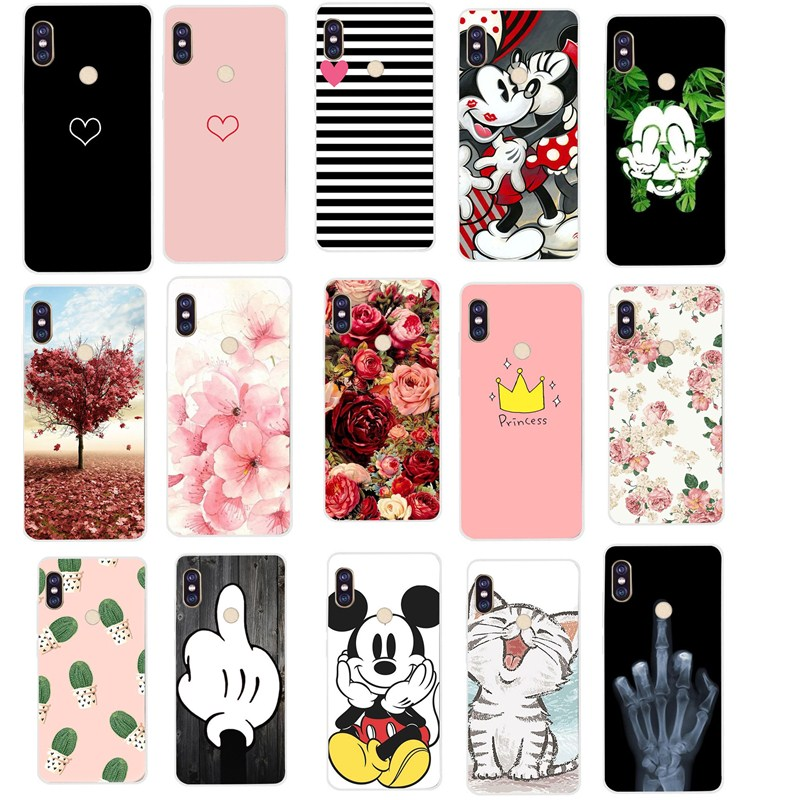 Silicone Case For Xiaomi Redmi Note 5 Case 5.99' Cover Flower Minnie Cat Love Heart for Xiaomi Redmi note 5 pro 4 4X 5A 5 Plus