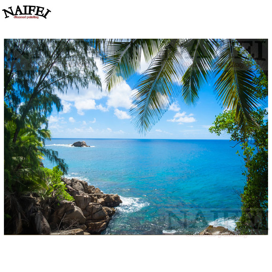 full square Diamond embroidery DIY 5d Diamond Painting Cross Stitch Tropical Island natural scenery diamond mosaic home decor