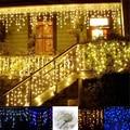 4 м * 96 Светодиодные фары Рождественские открытый светодиодные гирлянды сосулька занавес свет Строки Фея дом отдыха свадебные украшения 220 В/110 В