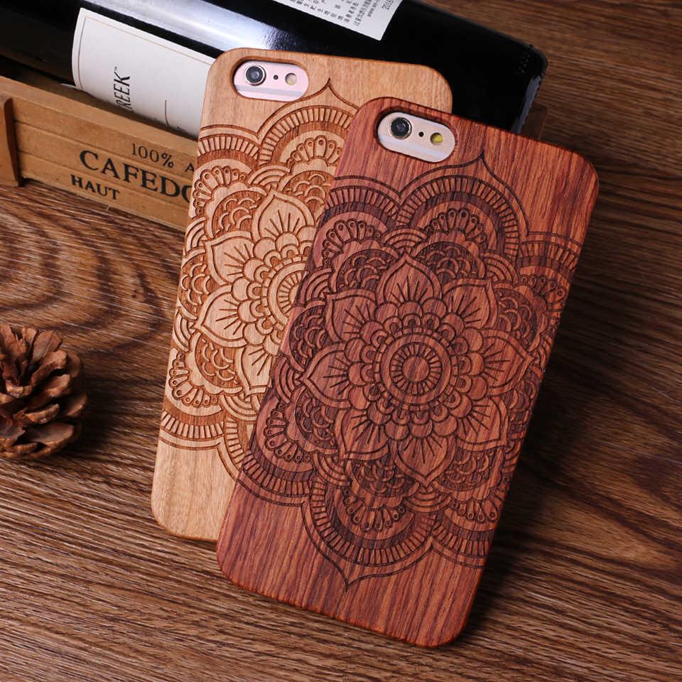 Para iPhone6 6 Além de 7 7 Plus 8 8 Plus X XS Max Indiano Mandala Elefante Tribal Do Crânio Do Gato Coruja caso de madeira Para SAMSUNG Galaxy S8 S9 Plus