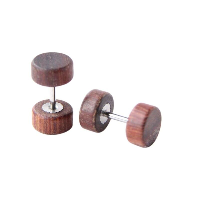 Female Male Wood Stainless Steel Earrings Double Sided Round Bolt Stud Earrings For Men Women Punk Gothic Barbell Black Earring(China)