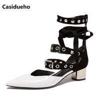 Casidueho пряжки Для женщин Туфли лодочки с перекрестной шнуровкой Женская обувь на высоком каблуке пикантные Сандалии гладиаторы с острым нос
