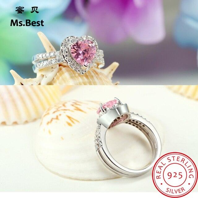 Твердые Сердце стерлингового серебра 925 Для женщин кольца розовый кристалл  изысканные свадебные украшения Lab кольцо с d0031f0c00a