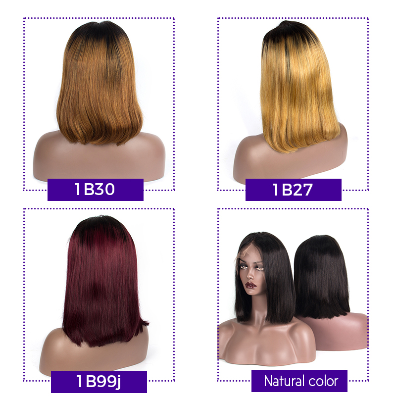 150% Density 13x6 Short Human Hair Bob Wigs For Women Ombre 1B/27 Black Roots Remy Brazilian Lace Front Human Hair Wigs Dream Me
