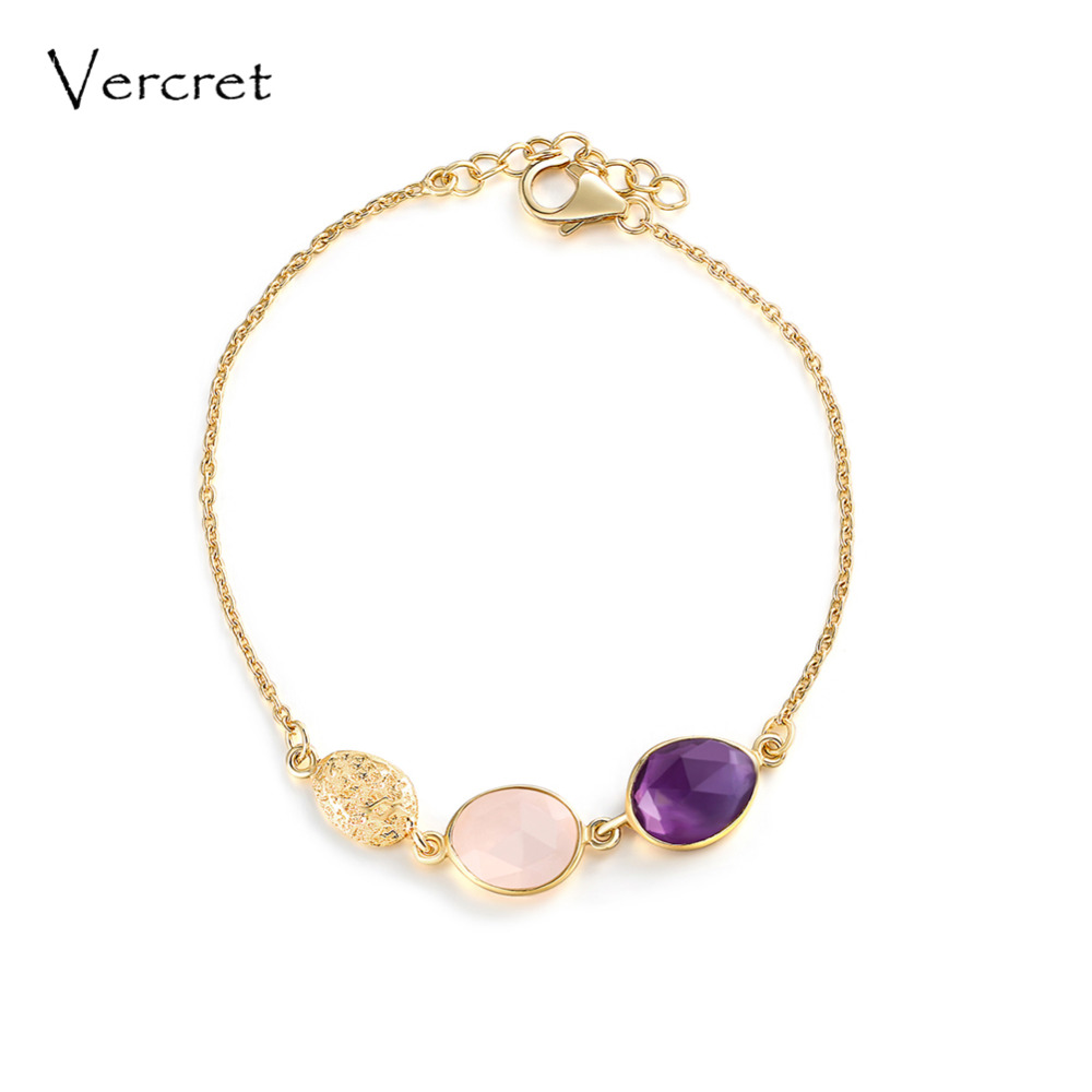 Vercret romantic 18k gold 925 silver bracelets rose quartz amethyst chain bracelet jewelry gifts