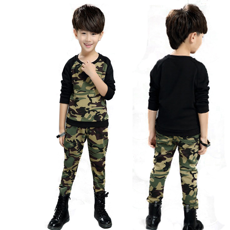 Boy Spring Clothes Teenage Clothing Set Camouflage ArmyGreen Children Sports Suit Costume for Kids O-Neck T-shirt+pants 2pcs