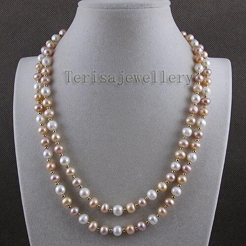 Потрясающе! 48'inchs длинное жемчужное ожерелье AA 8-9 мм белого розового и фиолетового цвета настоящий пресноводный жемчуг A2582