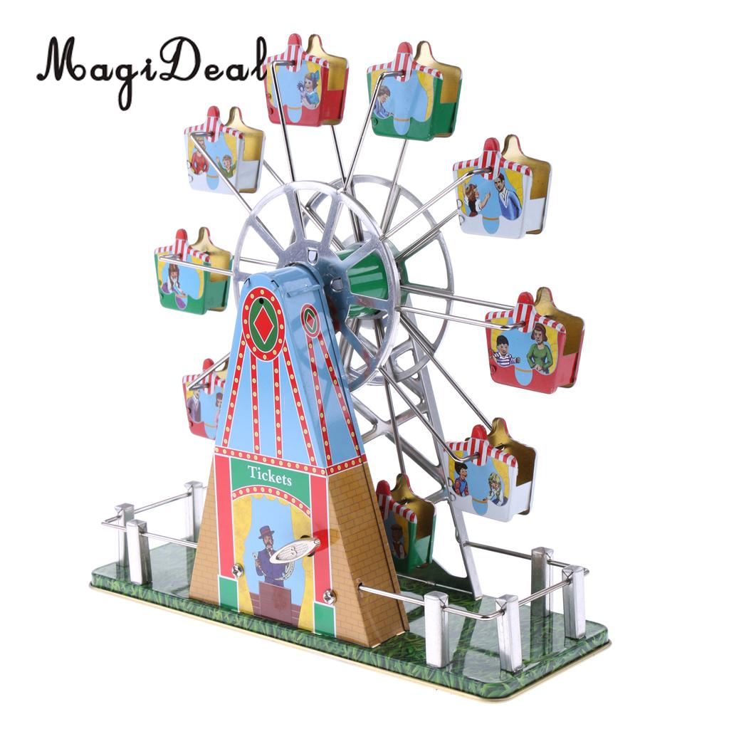 1Set Vintage Musical Ferris Wheel Clockwork Tin Toy Classic Wind-up Toys Gift for Children Kids Adult Home Desk Table Decor
