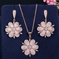 Fashion Luxury Jewelry 925 Silver Set Pendant Necklace and Earrings Austria Rose Gold Flower Design Style Party Crystal Set