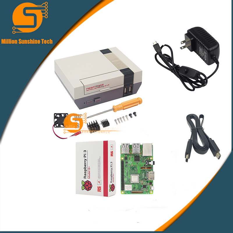 Raspberry Pi 3 NESPi Case Box+Raspberry Pi 3B+/3B + Fan+5V 3A Power+HDMI cable free shipping free shipping pure nature raspberry extract raspberry ketones powder 500mg x 100caps