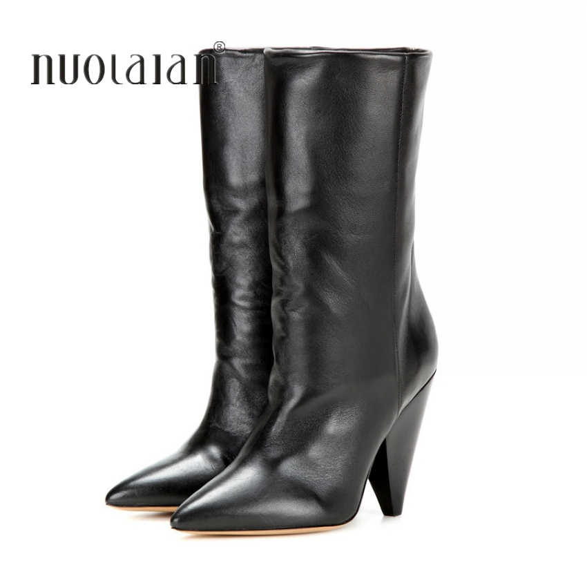 2018 women boots high heels Mid-Calf boots for women fur warm ladies snow boots winter and autumn woman shoes plus size 4-11