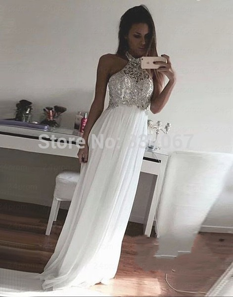 Pure White Chiffon High Neck Prom Dress 2016 Off Shoulder