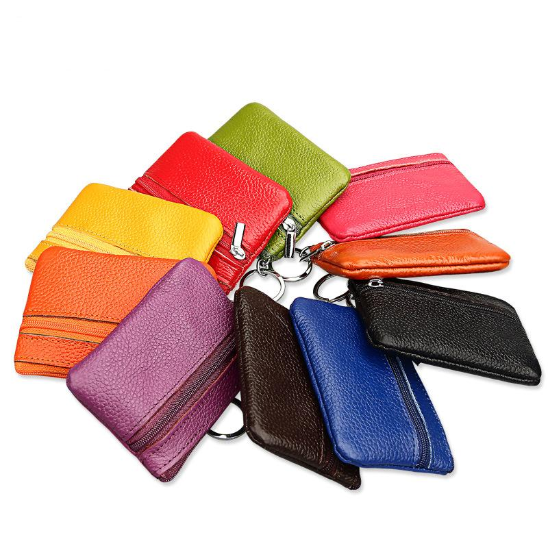 2017 New Short Wallet Genuine Cow Leather Coin Purse Travel Organizer 11 Candy Colors Storage Bag Key Holders Zipper Day Clutch