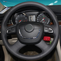 Black Leather Hand-stitched Car Steering Wheel Cover for Skoda Octavia Octavia a5 a 5 Superb 2012 2013