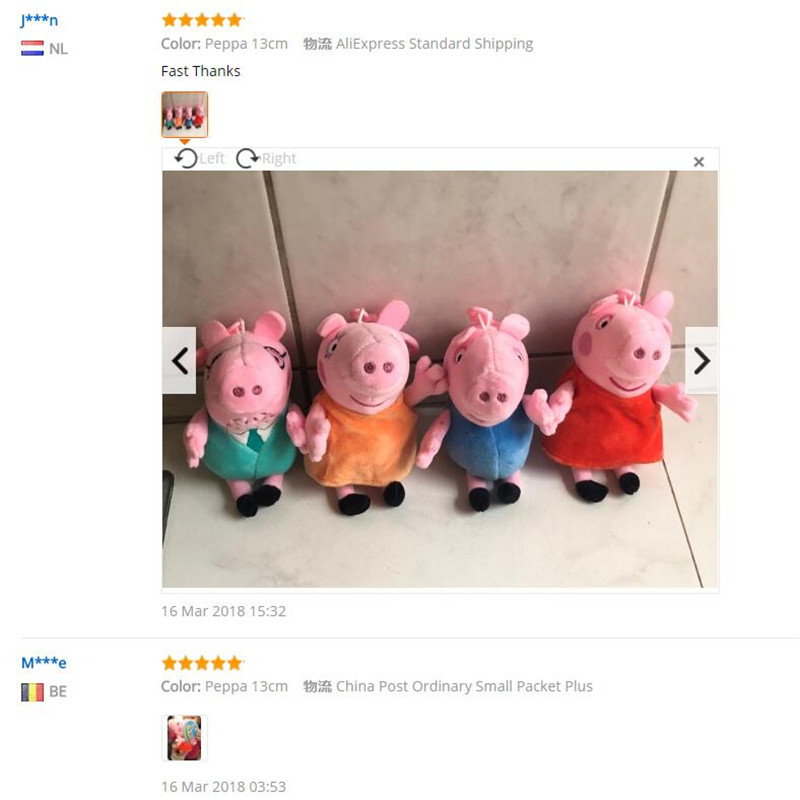 Image 5 - Peppa pig George pepa Pig Family Plush Toys 19cm Stuffed Doll Party decorations Schoolbag Ornament Keychain Toys For Children-in Movies & TV from Toys & Hobbies