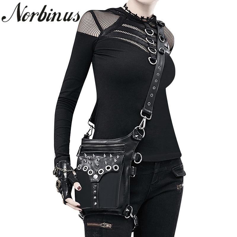 Norbinus Women Waist Bags Fanny Pack PU Leather Drop Leg Bag Rock Motorcycle Thigh Belt Bag Messenger Shoulder Crossbody Bags