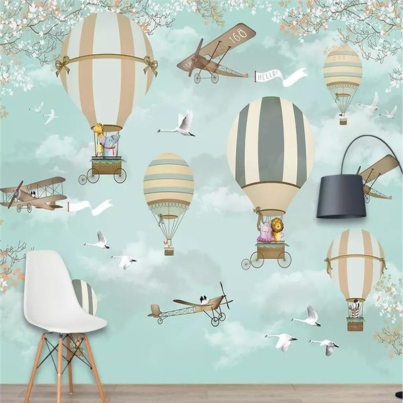 Beibehang Wallpaper Custom Mural Nordic Minimalist Hand Painted Cartoon  Airplane Balloon Children Room Decoration Background