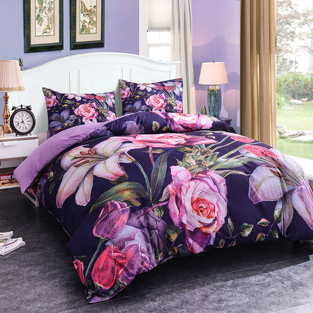 ZEIMON Home Textiles Flowers 3D Luxury Bedding Sets King Size 2/3 Pcs Of Duvet Cover Bed Cloth Pillowcase Bedclothes