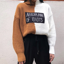2018 Harajuku Oversized Sweater Casual Women Korean Letter Print Female Knitted Jumpers Turtleneck Panelled Patchwork Pullover