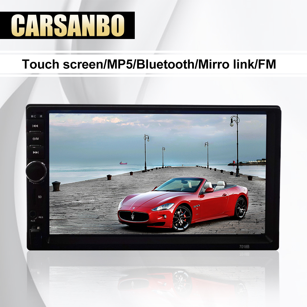 7 inch 2din Car Radio mp5 player with Mirrorlink USB TF card reader bluetooth rearview camera