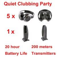 Silent Disco Complete System Black Folding Wireless Headphones Quiet Clubbing Party Bundle 5 Headphones 1 Transmitter