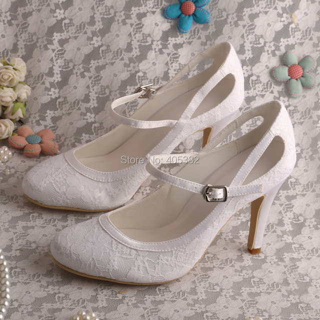 a8c39197b196 Mary Jane Closed Toe CuWomen White Shoes Lace Bridal Shoes Wedding 9CM Heels