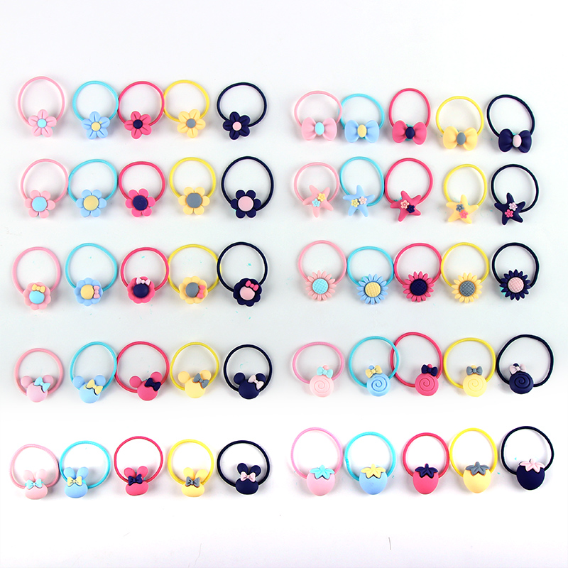 New 5PCS/Lot Girls Exquisite Flower Candy Bow Starfish Elastic Hair Bands Children Scrunchies Baby Hair Band Hair Accessories 100pcs lot fluorescence colored hair band holders rubber bands elastics hair accessories girl women hair ties gum page 6