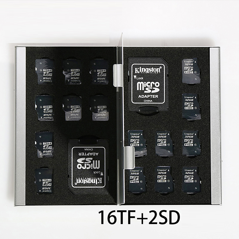 Micro 18 In 1 Aluminum Case Storage Box Bag Memory Card Case Holder Wallet For 2*SD Card 16*Mirco SD/TF SDHC Large Capacity