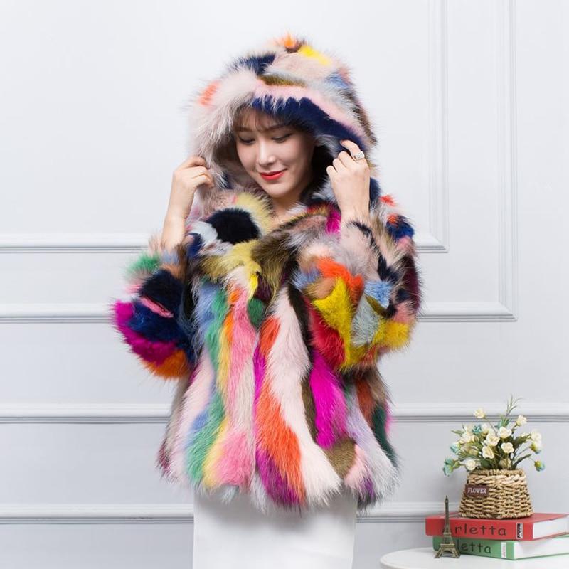 New Arrival 100% Genuine Mixed Colorful Raccoon Fur Coat Hoodies Fur Real Winter Coat Women Real Fur Jacket Sr