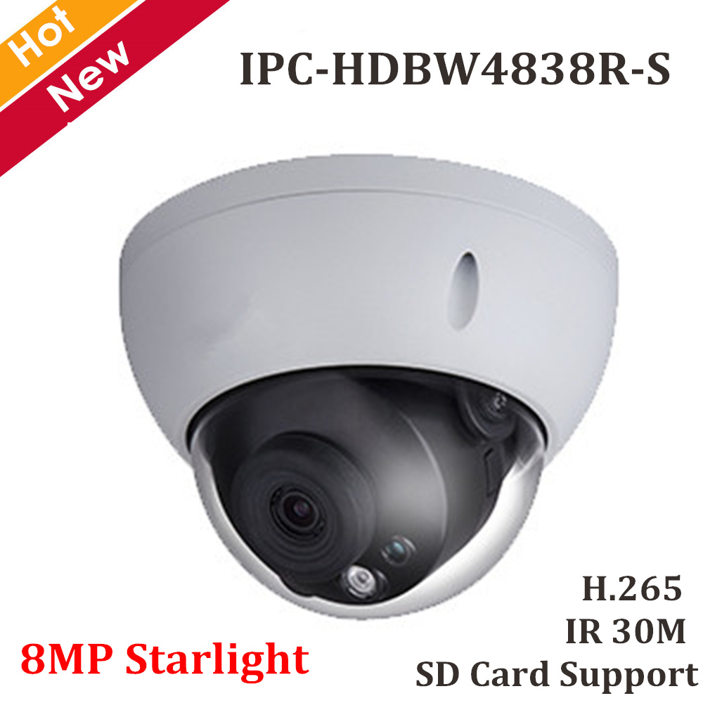 DH 8MP Starlight Dome IP camera H 265 IR 30m Waterproof IP67 Security Camera Support Max