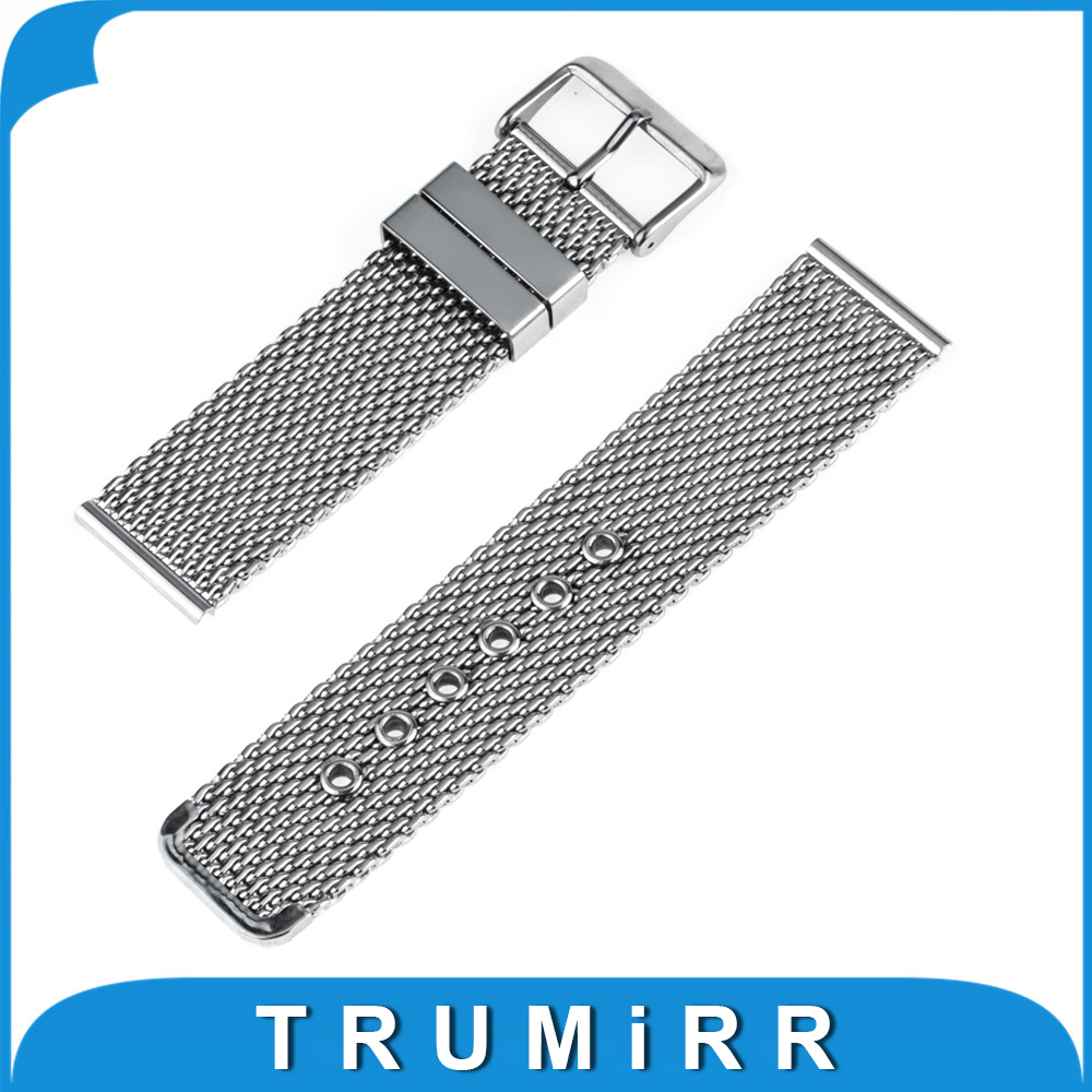 22mm Milanese Watch Band + Tool for Pebble Time Steel Stainless Steel Watchband Replacement Strap Wrist Belt Bracelet 2 colors stylish 8 led blue light digit stainless steel bracelet wrist watch black 1 cr2016