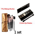 focallure makeup set 7 pcs Makeup Brushes in Sleek Golden Leather-Like Case Portable & long lasting 6 Colors Eyeshadow Palette
