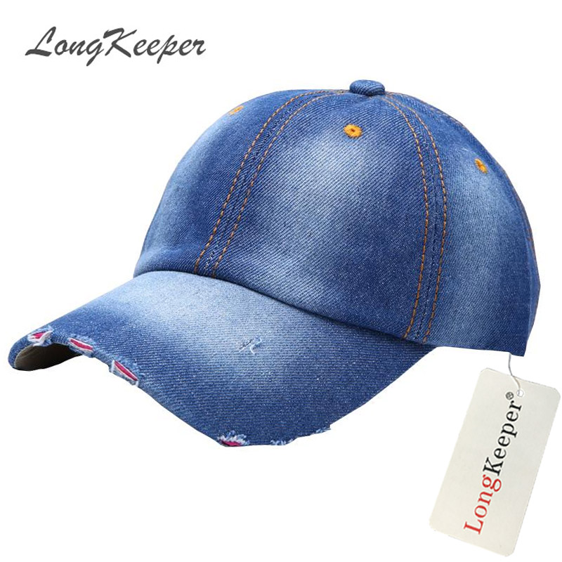 Aliexpress.com   Buy LongKeeper Summer Womens Mens Denim Caps Cowboy Style  Distressed Wearing Baseball Cap Boys Girls Snapback Fall Van Gorras MYW80  from ... 14ba0b8892
