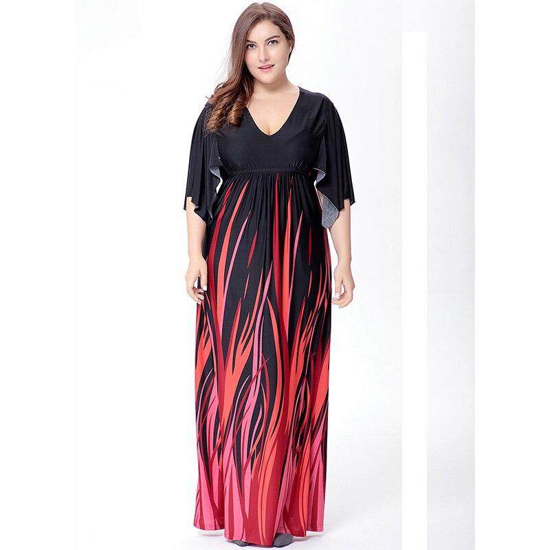 Roupas Femininas 2018 Women Summer Beach Dress V Neck Half Raglan Sleeve Empire Plus Size 6XL Maxi Dress Vestidos mujer