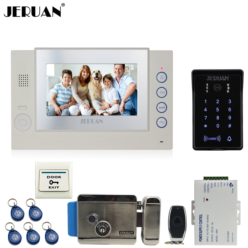 JERUAN 7`` LCD video door phone Record intercom system Kit New RFID waterproof Touch Key password keypad Camera 8G SD Card Free jeruan 7 lcd video door phone record intercom system 3 monitor new rfid waterproof touch key password keypad camera 8g sd card