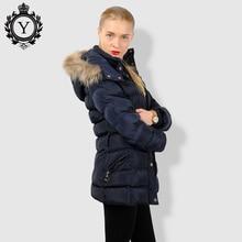 COUTUDI Winter Jacket Women Thick Warm Slim Medium Long Winter Woman Coat With Natural Fur Collar