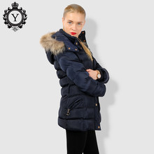 COUTUDI Winter Jacket Women Thick Warm Slim Medium Long Winter Woman Coat With Natural Fur Collar Hooded Female Cotton Parkas(China)