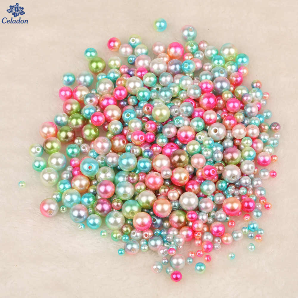 New Arrival 50-500Pcs Size 4mm 6mm 8mm 10mm Multi Color Plastic ABS Loose Pearl Beads For DIY Scrapbook Decoration Craft Making