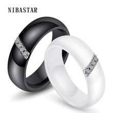 Anillos de las mujeres 6mm blanco y negro anillo de cerámica para las mujeres de la India de cristal de piedra de confort de la boda Anillos De Compromiso joyería de marca