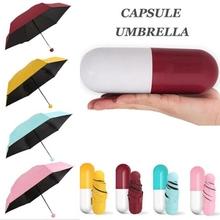 Mini składana kapsułka mała parasolka z pigułką opakowanie kieszeń Parasol deszcz anty-uv przenośny Parasol podróżny słoneczny deszczowy dzień tanie tanio Umbrellas Jeden rozmiar Z tworzywa sztucznego Składane Słoneczne i deszczowe parasol Ołówek parasol Nie-automatyczny parasol