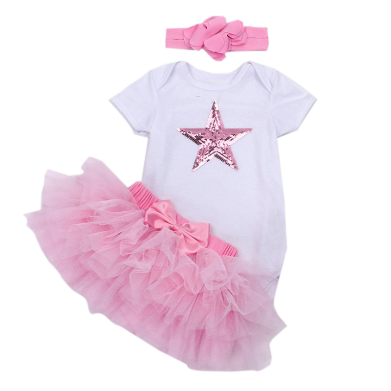 Baby Girls Newborn Costumes Sequin Star Jumpsuit + Headband + Tutu Skirt Clothing Sets Bebe Party Clothes Paly Suit Girls Outfit