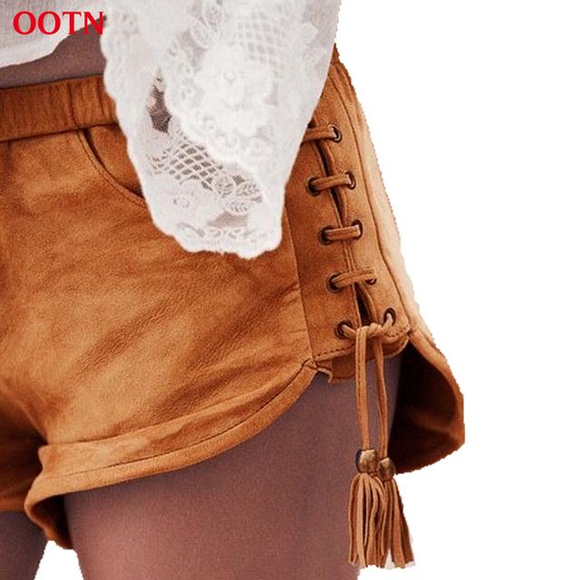 OOTN LDDK001 Flaco Shorts Mujeres Sexy Elástico de La Cintura Pantalones Cortos de Verano Bolsillos Borla de Gamuza Tendencia Calle de La Moda 2017 de Alta Calidad